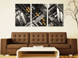 Yellow Flow 3 Panel Black & White with Yellow New York City Triptych