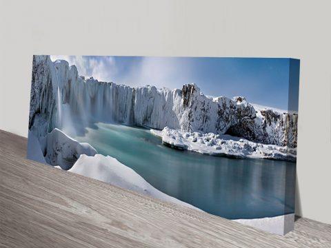 Icy Falls Glacier Photography Canvas Wall Art