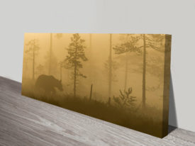 Bear in Forest Panoramic Canvas Wall Art Print