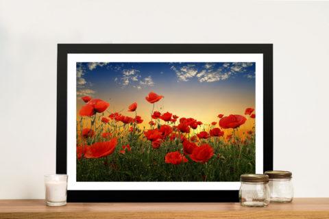 Sunset Poppy Field Framed Wall Art Picture