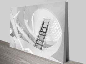 the glass elevator wall art canvas print