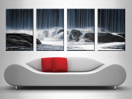 waterfall crashing on rocks 4 panel best canvas print