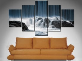 waterfall crashing onto rocks 5 panel custom art