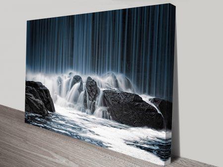 Waterfall Crashing On Rocks Motion Ready to Hang