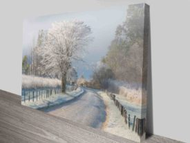 dream winterland painting to canvas print
