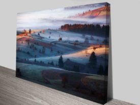 winters dusk painting to canvas print