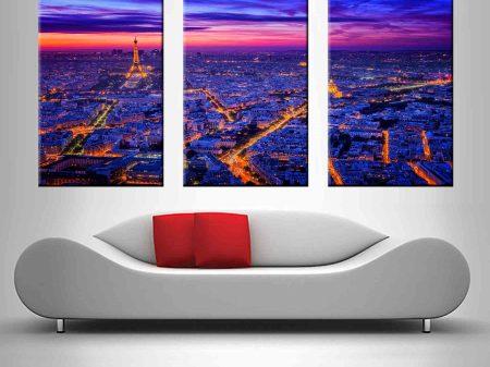 Paris at Dusk Triptych Canvas Photo Art