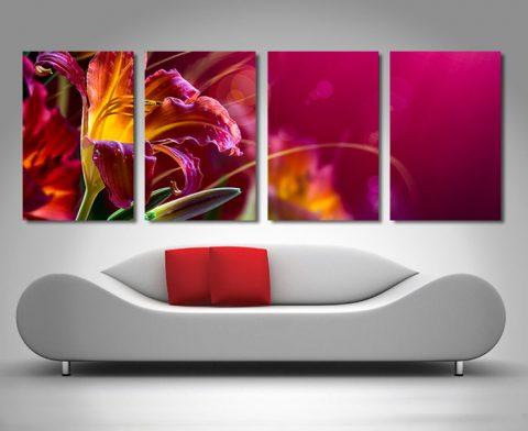 4 panel Floral Paradise Art