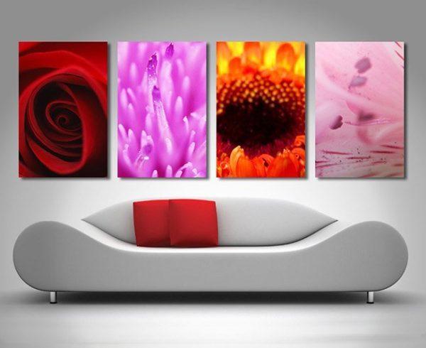 4 panel flower canvas artwork