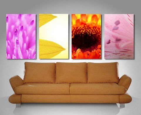 4 panels flowers wall art print