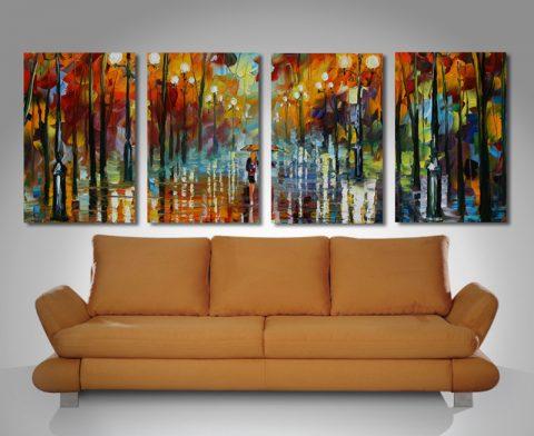 4 split section canvas wall art