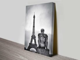 the eiffel statue wall art canvas print