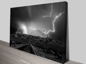 lightning road wall art canvas print