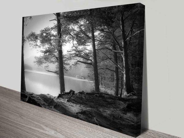 black and white lakefront cheap photo canvas art print