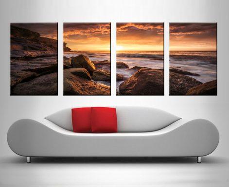 sunset at the sea 4 panel wall art canvas print