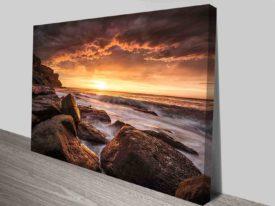rocky shore sunset wall art canvas prints
