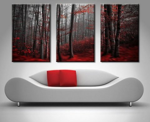 Red Wood Triptych 3 Pictures Sectioned Wall Art
