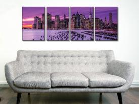 New York Violet Sunset 4 Panel Stretched Canvas Art Prints