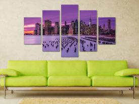 New York Violet Sunset 5 Panel Canvas Wall Art