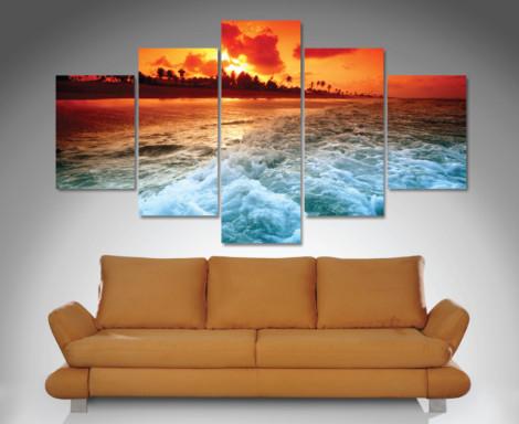 sunset churn 5 panel wall art canvas print