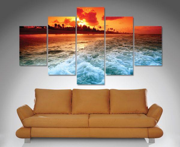 Sunset Churn 5-Panel Wall Art Canvas Set