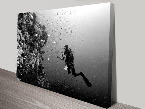Black & White Scuba Diver Canvas Wall Art