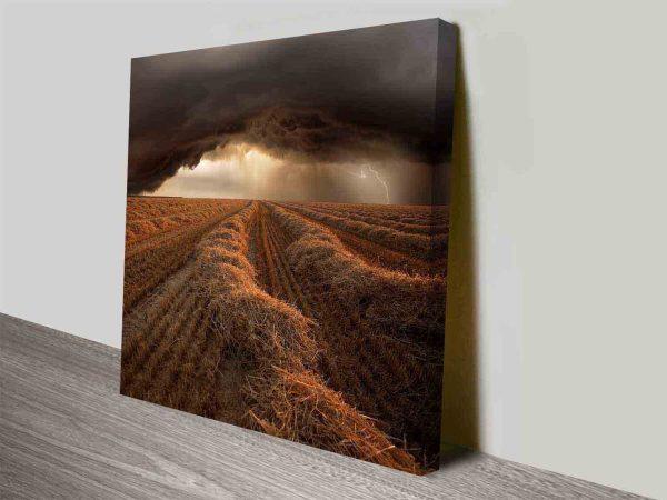 stormy farmlands wall art canvas print
