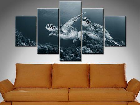 turtle monochrome 5 panel wall art canvas print