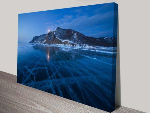 Frozen Lake Baikal at Twilight Russia Winter Scenic Landscape Canvas