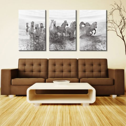 13 White Horses 3 Panel Photo Canvas Art