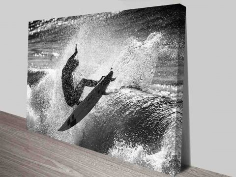 Riding the Wave Surfing Action Black and White Photography Art Print