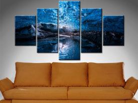 skaftafell ice cave 5 panel wall art canvas print