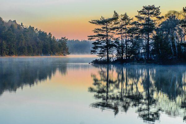 Mountain reflections on lake canvas artwork