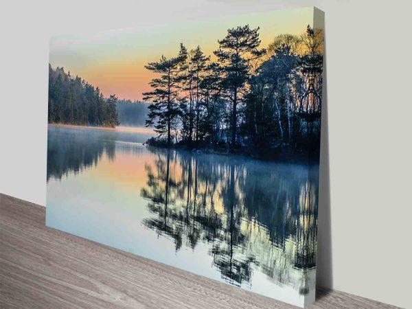 Mountain Lake Scenic Landscape Frameable Mounted Art Print Australia