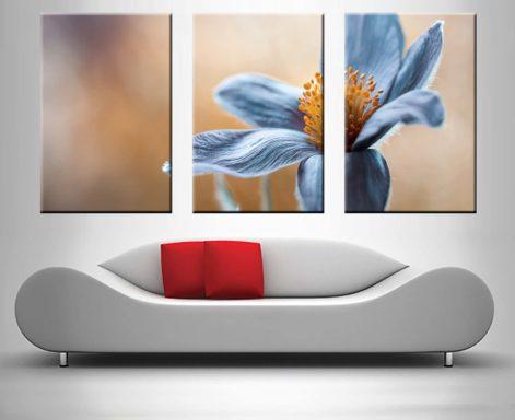Blue Floral Wall Art Triptych Split Canvas