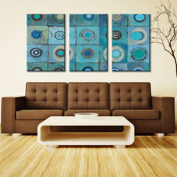 Underwater Mosaic Triptych 3 Panel Silvia Vassileva Canvas Art