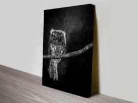 Alone in the Night by Wilianto Black and White Bird Photographic Canvas