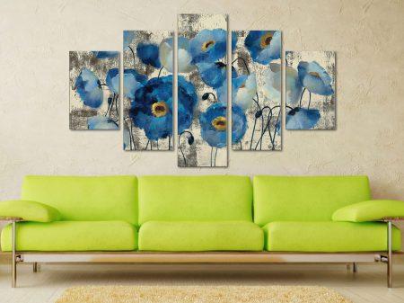 Aquamarine Floral 5 Piece Artwork Canvas Printers