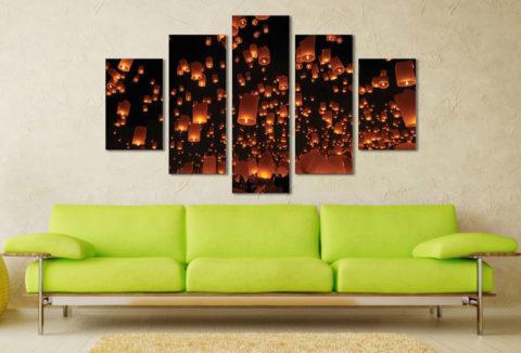Floating Lanterns 5 Piece Artwork Wall Art