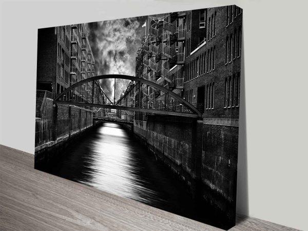 black and white bridge photo canvas print