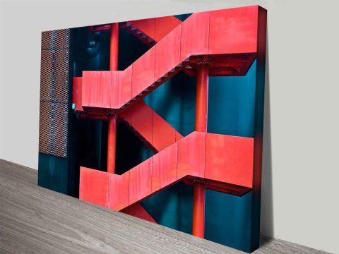 orange stairway online photo art on canvas