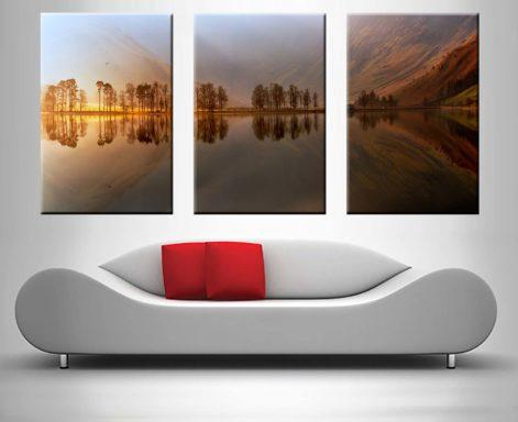 Mountain Lake 3-Panel Print Set for Sale