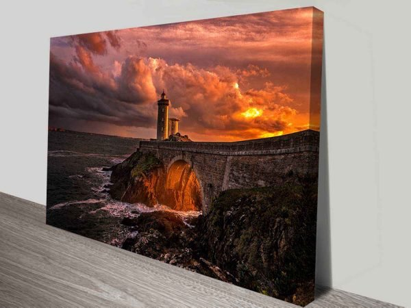 sunset lighthouse stretched canvas wall art