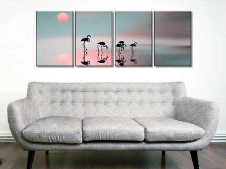 Family flamingos 4 Panel Canvas