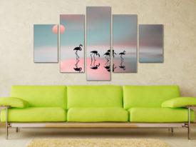 Family Flamingos 5 Piece Artwork Canvas Gifts