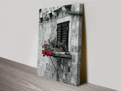 Parisian Window Flames Black and White Canvas Print