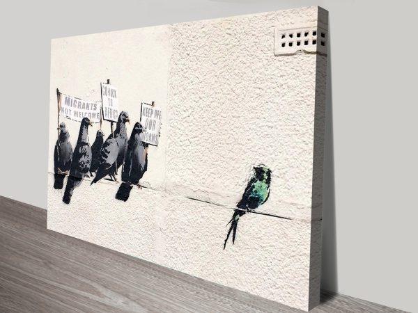 Banksy Migrant Birds Framed canvas print