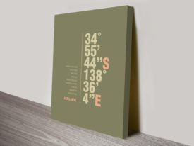 Adelaide Khaki Green Coordinates Longitude Latitude Canvas Wall Art