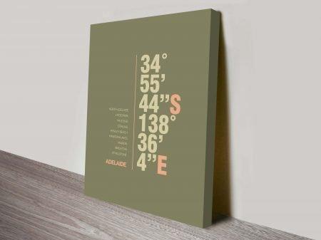 Adelaide Khaki Green Coordinates Longitude Latitude Canvas Wall Art