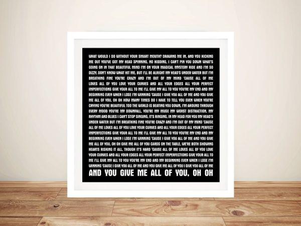 All of Me John Legend Framed Wall Art
